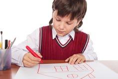pojken tecknar huset arkivbilder