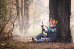 Pojkens stående med en krona på huvudet och ett svärd i händer Arkivfoton