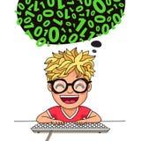 Pojkeprogrammerare skriver kod på tangentbordet royaltyfri illustrationer