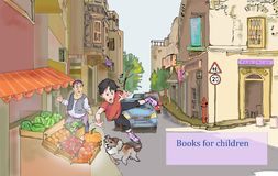 Pojkeridning på rullskridskor stock illustrationer