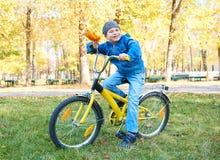 Pojkeridningen på cykeln i höst parkerar, den ljusa soliga dagen, stupade sidor på bakgrund Fotografering för Bildbyråer