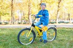 Pojkeridningen på cykeln i höst parkerar, den ljusa soliga dagen, stupade sidor på bakgrund Royaltyfri Bild