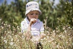 Pojkesammanträde bland vildblommor Fotografering för Bildbyråer