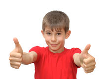 pojkesinnesrörelse göra en gest shows Royaltyfri Bild