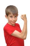 pojkesinnesrörelse göra en gest shows Royaltyfria Bilder