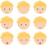 Pojkesinnesrörelser: glädje överraskning, skräck, sorgsenhet, sorg, gråt, laug Arkivbild