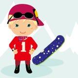 pojkeskidåkning royaltyfri illustrationer