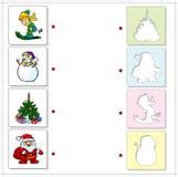 Pojkeskidåkning, snögubbe, julgran och Santa Claus bilda Arkivfoton