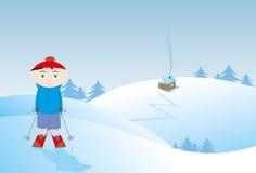 pojkeskidåkningvinter royaltyfri illustrationer