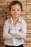 pojkeskjortawhite Arkivfoto
