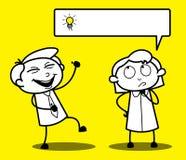 Pojkeskratta och flicka för tecknad film som roligt tänker en idé royaltyfri illustrationer