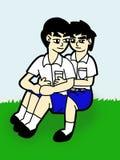 pojkestudenttecknad film stock illustrationer
