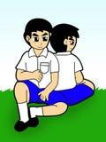 pojkestudenttecknad film royaltyfri illustrationer