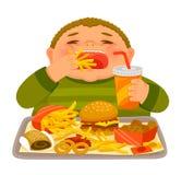Pojkesupfest som äter skräpmat royaltyfri illustrationer