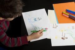 Pojketeckning med markörer Royaltyfri Foto