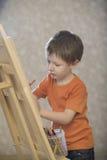 Pojketeckning på kanfas Arkivfoton