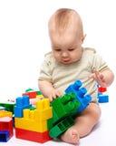 pojketegelstenar som bygger little fotografering för bildbyråer