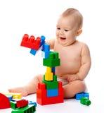 pojketegelstenar som bygger little royaltyfri fotografi