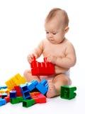 pojketegelstenar som bygger little royaltyfri foto