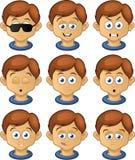 Pojkeuttrycksuppsättning royaltyfri illustrationer