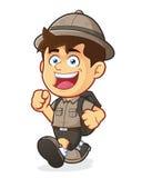 Pojkscout eller utforskare Boy Walking vektor illustrationer