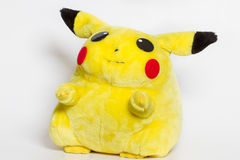 Pokémon center plush doll Pikachu. Pokémon center plush doll Pikachu on white background. nPokémon GO caracter Royalty Free Stock Photo