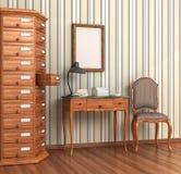 Pokój dla archiwów Rocznik drewniana garderoba Obraz Stock