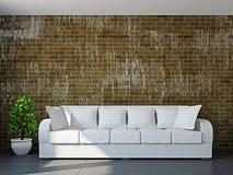 Pokój dzienny z kanapą i rośliną Obrazy Royalty Free