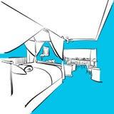Pokój hotelowy z tarasem, Błękitne serie Zdjęcia Stock