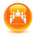 Pokój konferencyjny ikony szklisty pomarańczowy round guzik Obraz Stock