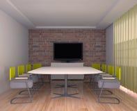 Pokój konferencyjny z TV we wnętrzu biura Ilustracji