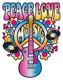 Pokój muzyka i miłość Obrazy Stock