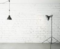 Pokój z światłem reflektorów i lampą ilustracji