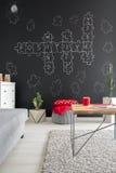 Pokój z crossword łamigłówki chalkboard Obrazy Stock