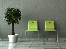 Pokój z dwa zielenią przed ścianą ilustracji