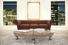 Pokój z dywanem, stołem i kanapą, Zdjęcie Royalty Free