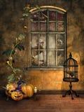 Pokój z Halloweenowymi baniami Obraz Stock