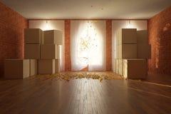 Pokój z kartonu przodem Zdjęcie Stock