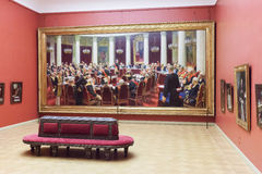 Pokój z obrazkiem Ilya Repin w stanu Rosyjskim muzeum w S Zdjęcie Stock