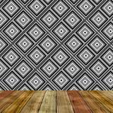 Pokój z sześcianu abstrakta ściany nad drewnianą podłoga Fotografia Stock