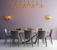 Pokój z współczesnym łomota stołem, biel krzesłami i nowożytnym zwianiem, royalty ilustracja