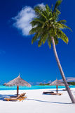 Pokładów krzesła pod umrellas i drzewkami palmowymi Zdjęcie Royalty Free