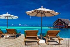 Pokładów krzesła przegapia nieskończoność basenu z parasolem i tropikalny Fotografia Stock