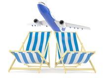 Pokładów krzesła z samolotem royalty ilustracja