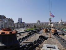 Pokład Radziecki lekki krążownik Mikhail Kutuzov Novorossiysk, Rosja Fotografia Royalty Free