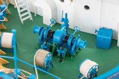 Pokładu wyposażenie na szalkowego modela statku Zdjęcia Stock