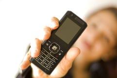 pokaż telefon kobiety fotografia stock