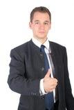 pokaz biznesmen kciuk w górę młodych zdjęcie royalty free