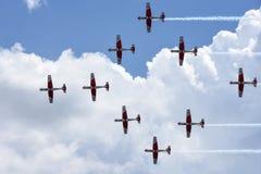 Pokaz lotniczy Szwajcarska akrobatyczna komarnicy drużyna przy Lugano Obraz Stock