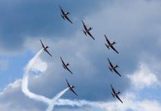 Pokaz lotniczy Szwajcarska akrobatyczna komarnicy drużyna przy Lugano Fotografia Stock